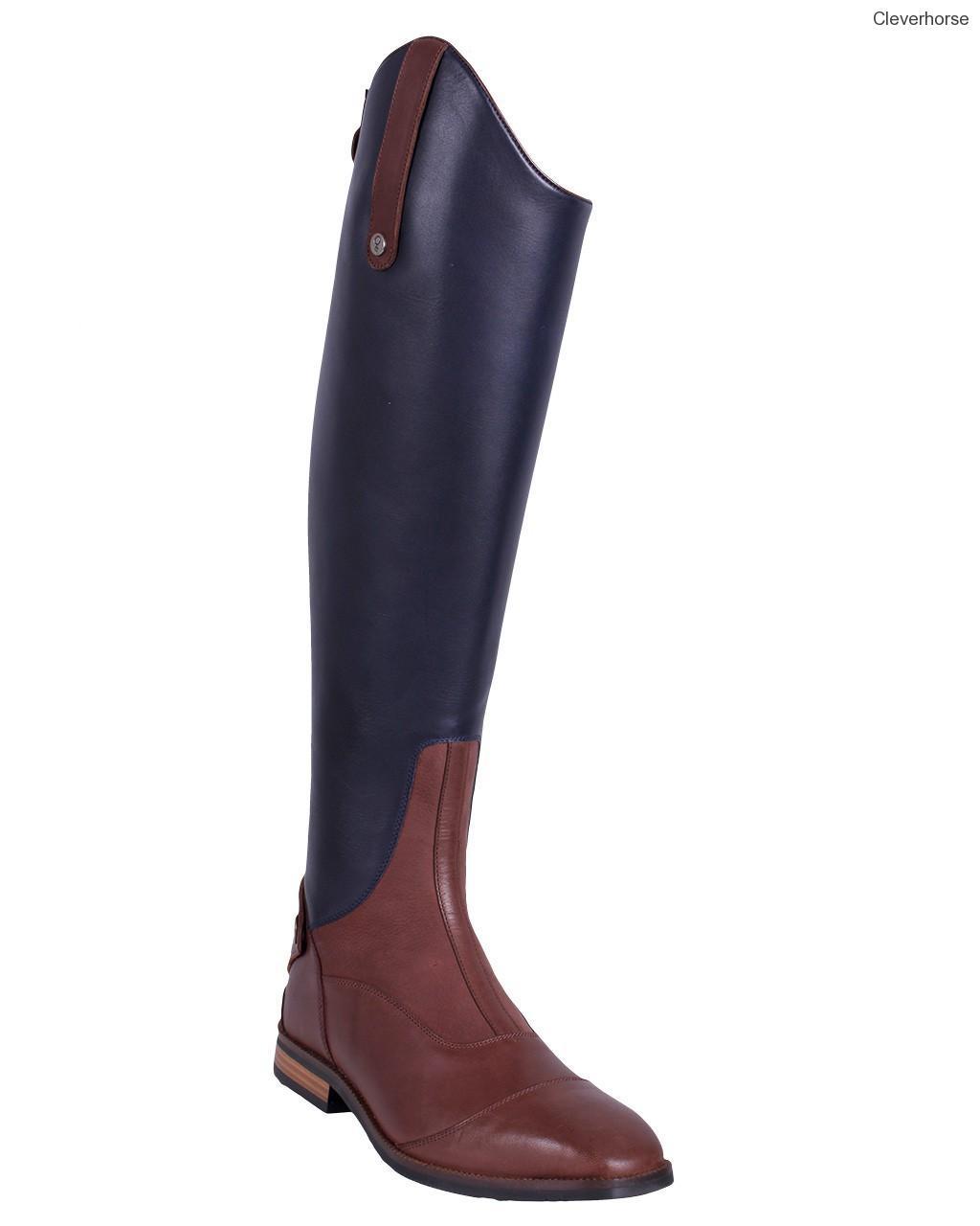 cac2198243007 Vysoké dámské kožené boty v kontrastních barvách Shiva   Jezdecké ...
